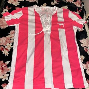 Vs Pink White and Pink Striped Tee